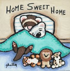 Ferrets and Toys Sleeping Babies  Hand Painted by ShellyMundelArt, $35.00