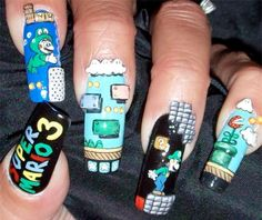 These are  SUPER MARIO 3 nails. It shows Mario in all his diffrent games and some of his challenges.