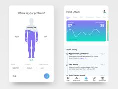 health app Imagine a fictional mobile app that offers a complete fitness to its users. This app lets users book health checkups, pathological tests, Assume this screen has calls to actions for the user to do. Flat Web Design, App Ui Design, Mobile App Design, User Interface Design, Web Layout, Design Layouts, Website Layout, Mobile Ui Patterns, Diet Apps