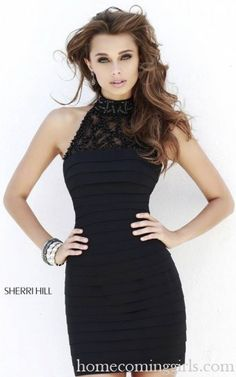 Black Sherri Hill 32055 Short Halter Bandage Dress Sherri Hill Prom  Dresses, Prom Dresses 2015 6e6e065dd4