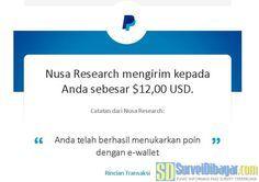 Bukti pengiriman sal Bukti pengiriman saldo PayPal dari Nusaresearch | SurveiDibayar.com