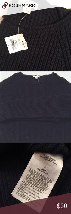 Gap navy raglan ribbed sweater NWT - Gap navy ribbed sweater. Rolled crewneck; slight high/low hem with side slits. GAP Sweaters Crew & Scoop Necks