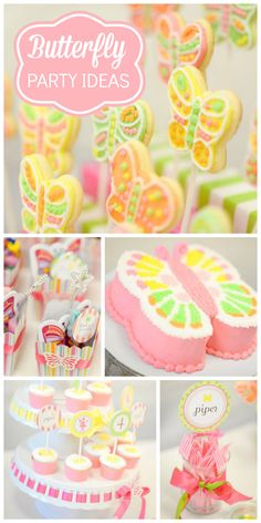 A gorgeous pastel Butterfly and Fairy girl birthday party with pretty cookies and party favors! See more party planning ideas at CatchMyParty.com!
