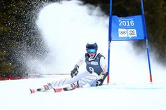 River Radamus USA on his way to winning the Gold Medal in the Alpine Skiing Men's Giant Slalom at the Hafjell Olympic Slope at the Winter Youth Olympic Games Lillehammer Norway