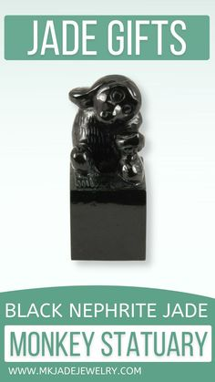 This wonderful black jade statuary piece is not only beautiful, but full of meaning. The monkey is the 9th symbol in the Chinese Zodiac & is believed to bring wealth & success. The monkey is holding a peach which symbolizes longevity. A perfect gift! Use discount code INSTA10JORDAN at checkout! Chinese Zodiac, Jewelry Gifts, Jewellery, Monkey, Jade, Black, Gift Ideas, Small Businesses, Wealth