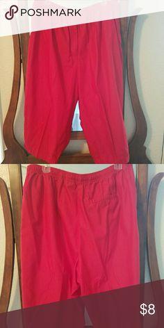 Karen Scott cotton capris 100% red cotton capris, light and soft. Elastic waist. Size 1x Pants Capris