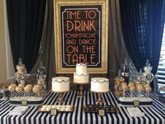 Bridal Bliss Wedding: black, white, and gold details create this glamorous dessert display by Blissfully Sweet!