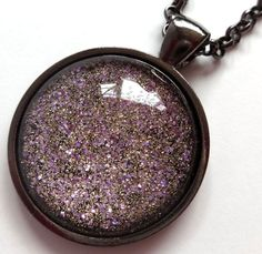 Gold and Light Purple Lilac Glitter Pendant by StardustCraft, $10.00