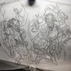 ⛏⛏✏️✏️ working... #tattoo #tatuaje #serieztattoo #fujin #raijin #japanese #japanesetattoo #irezumi #irezumicollective #japaneseart #japanesecollective #draw #sketch