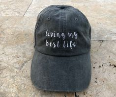 84f80516b717b Living My Best Life Baseball Hat Embroidered Dad Hat for