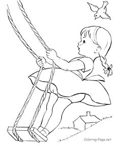Summer coloring page - Little girl swing