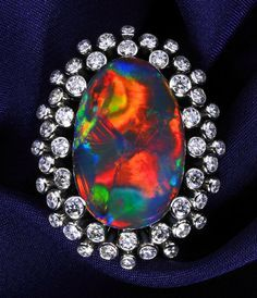 Black Opal Ring, Black Opal 22.736 ct Diamond 2.259 ct Pt 900.