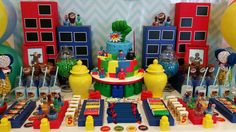 Colorful superhero birthday party dessert table! See more party ideas at CatchMyParty.com!