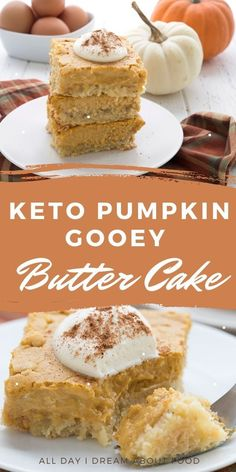A Paula Deen classic goes keto! You're going to love this delectable low carb Pumpkin Gooey Butter Cake. Sugar-free and grain-free. Low Carb Sweets, Low Carb Desserts, Low Carb Recipes, Fall Desserts, Ketogenic Recipes, Pastry Recipes, Dessert Recipes, Breakfast Recipes, Recipes Dinner