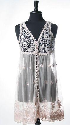 <3 this!!  Crochet Lace Long Vest