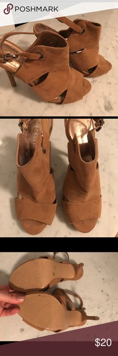 BCBGeneration Tan Heels! Like New! These gorgeous tan BCBGeneration heels and perfect for the office or a night out! Like New! I'm pregnant so I just can't wear heels right now. I promise you will love these! BCBGeneration Shoes Heels