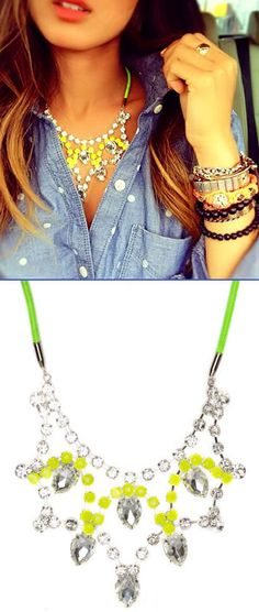Stunning Princess Crystal Yellow Tear Drop Bib with Neon Cord Necklace <3 {WANT}