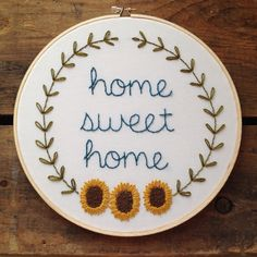 Home Sweet Home sunflower embroidery hoop by itsonlyyou on Etsy Hand Embroidery Projects, Embroidery Hoop Art, Hand Embroidery Designs, Cross Stitch Embroidery, Embroidery Patterns, Cross Stitch Love, Sewing Art, Cross Stitching, Needlework
