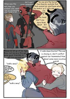 Deadpool comes to the fight——!! Avengers Quotes, Avengers Imagines, Avengers Comics, Loki Imagines, Spideypool Comic, Superfamily Avengers, Baby Avengers, Avengers Cast, Marvel Funny