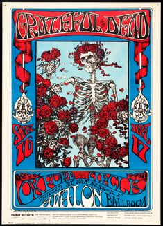 Grateful Dead poster for the Avalon Ballroom in San Francisco - poster art by Stanley Mouse ('Mouse') who created the Skull and Roses logo so ironically linked to The Dead.