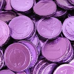 Purple:  #Purple-foil-wrapped chocolate coins.