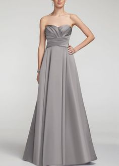 The dresses are officially ordered! Strapless, satin ballgown in Lapis with sweetheart neckline from David's Bridal