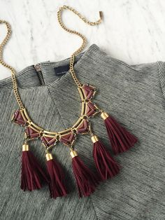 Ultimate Fall Staple | olive + piper Christian Tassel Bib Necklace | www.oliveandpiper.com #tassels #fringe