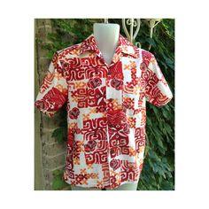 Mens Vintage Hawaiian Shirt White Red & Orange by Redcurlzs Tribal Shirt, Bowling Shirts, Vintage Men, Hawaiian, Vintage Outfits, Men Casual, Men's Clothing, Vintage Clothing, Mens Tops