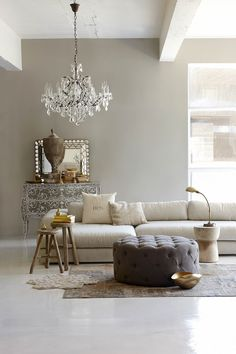 gorgeous greige* simple minimal* touches of old and new* love the scalloped mirror & ornate console*