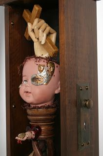 Portrait of Self - found object art - Assemblages by Roberta Karstetter (close up of one part)