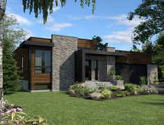 This lovely Contemporary style home with Bungalow influences (House Plan has 1277 square feet of living space. The 1 story floor plan includes 2 bedrooms. Modern House Plans, Modern House Design, Modern Exterior, Exterior Design, Chalet Modern, House Plans One Story, Contemporary Style Homes, Small Contemporary House Plans, Contemporary Bathrooms