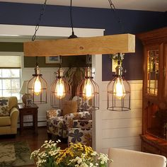 Handmade light in our customers beautiful interior – Marjorie B. Davis Home Hanging Lights, Rustic Light Fixtures, Chandelier Lighting, Wood Beams, Wooden Chandelier, French Painted Furniture, Rustic Chandelier, Farmhouse Lamps, Led Pendant Lights