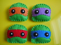 Cute Teenage Mutant Ninja Turtles Felt Plush Magnet Set. $15.00, via Etsy.