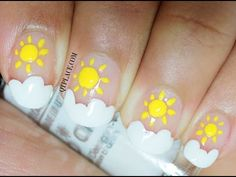 Nail art for beginners sun and cloud nail art - YouTube