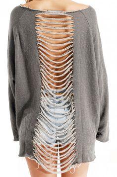 DIY Shredded Sweatshirt