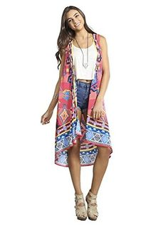 Flying Tomato Women's Sleeveless Multi Print Kimono (Coral)