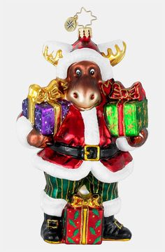 Fun Gift Carrying Moose Santa Ornament - Ornament Reviews