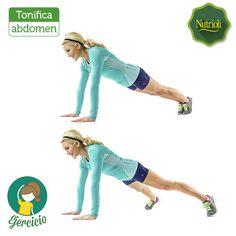 ¡Tiempo de ejercitar tu cuerpo! Esta rutina ayudará a trabajar los músculos de tu abdomen. Coloca las manos en el suelo, alineadas con tus hombros (posición de tabla). Tu cuerpo debe formar una línea diagonal recta desde la cabeza a los pies. Salta abriendo tus piernas hacia los lados y luego de vuelta al centro. Haz este movimiento durante 60 segundos.