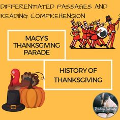 Browse over 340 educational resources created by Reading Specialty in the official Teachers Pay Teachers store. Macys Thanksgiving Parade, Thanksgiving History, Thanksgiving Writing, Thanksgiving Parties, Thanksgiving Activities, Outdoor Thanksgiving, Holiday Activities, Thanksgiving Ideas, Teacher Resources