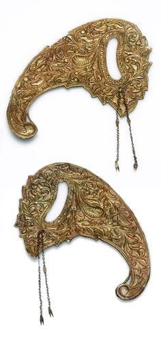 Indonesia ~ Java   Gilded bass headdress ornament   ca. 1970 or earlier