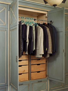 Features: Pull Down Bar  Movable clothing rods inside your wardrobe unit provide easy access to clothes while choosing outfits. The metal rod can be pushed up to keep clothes out of the way, or pulled down to shoulder height for more convenience. Built-in drawers hidden behind wardrobe doors also help with closet organization.