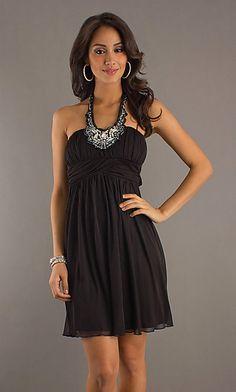 Short Black Halter Dress at SimplyDresses.com