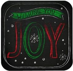 "Amazon.com: Custom & Unique {7"" Inch} 8 Count Bulk Multi-Pack Set of Medium Size Square Disposable Paper Plates w/ Wishing You Joy Chalkboard Art Christmas X-Mas Celebration ""Black, Red, White & Green Colored"": Kitchen & Dining"