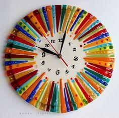 авторская работа, handmade, glass, стекло, цветное, фьюзинг, часы, радуга, шапито, Лилия Горбач