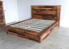 Reclaimed Wood Platform Bed by wwmake on Etsy Solid Wood Platform Bed, Platform Bed Frame, Pallet Platform Bed, Rustic Platform Bed, Pallet Furniture, Rustic Furniture, Furniture Ideas, Antique Furniture, Modern Furniture