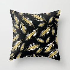 Beautiful Leaf Creations on Black Background Throw Pillow by pivivikstrm Couch Pillows, Down Pillows, Floor Pillows, Pillow Sale, Designer Throw Pillows, Pillow Design, Pillow Inserts, Black Backgrounds, Framed Art Prints