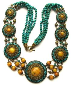 """Polymer clay artist Svetlana Gracheva, """"Nagrang"""" necklace.  Faux turquoise and amber with jump ring detailing in the Tibetan style. She's doing a great job perfecting her imitation technique!"""