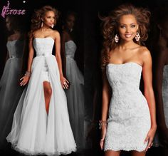 LN-019 New Design Short Strapless Appliques Pure White Wedding Dress Bridal Gown With Detachable Skirt
