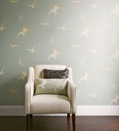 Swallows (DVIWSW104) - Sanderson Wallpapers - Delicately drawn birds soar through a summer sky.  Available in 5 colourways, shown in the soft silver grey.  Pattern repeat 76.2 cm Please request a sample for true colour match.