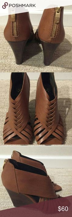 Vince Camuto tan wedges Tan leather colored wedges, only worn once, no box Vince Camuto Shoes Wedges